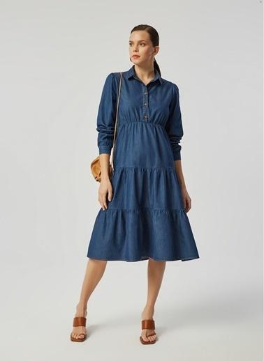 Monamoda Maxi Boy Yarım Pat Kesikli Soft Denim Elbise Mavi
